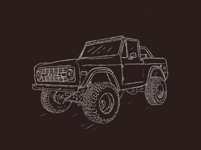 Ford Bronco illustration line retro vintage racing car white black pencil drawing procreate bronco ford
