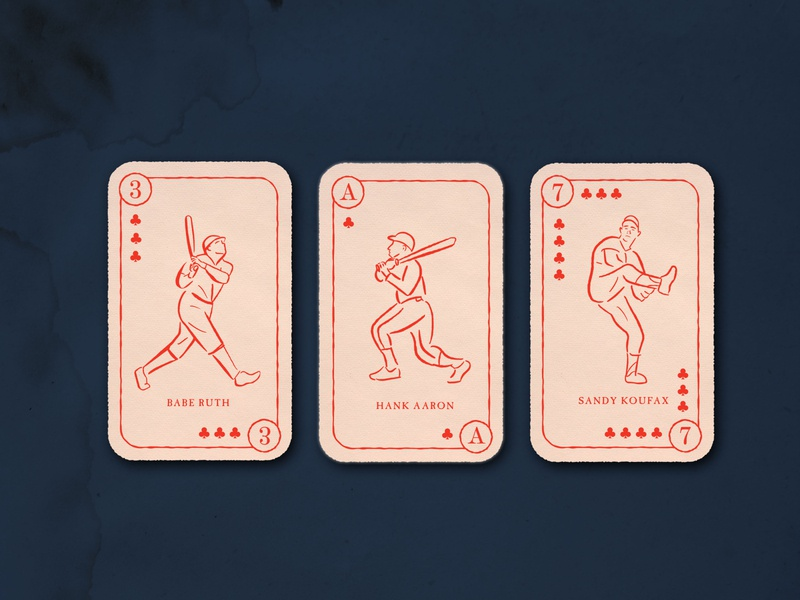 Vintage Baseball Cards dribbbleweeklywarmup spades vintage logo sandy koufax babe ruth playing cards baseball design illustration