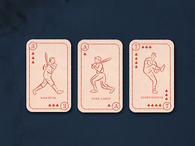 Vintage Baseball Cards dribbbleweeklywarmup spades vintage logo sandy koufax babe ruth playing cards baseball design illustration