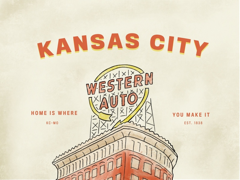 Kansas City kansas missouri texture vintage sign building kcmo home western auto kansas city typography illustration