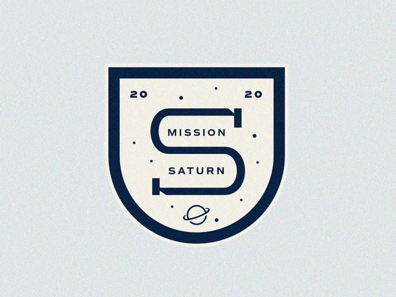 Mission Saturn lockup dribbbleweeklywarmup grain texture missionary saturn astronomy stars space patch sticker badge