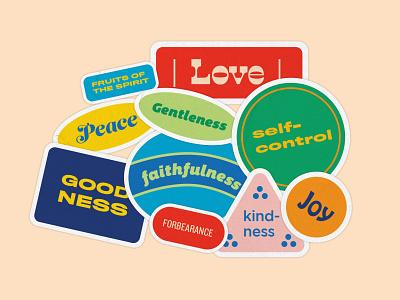 Fruit Stickers kindness peace joy love typography design illustration spirit stickers fruit