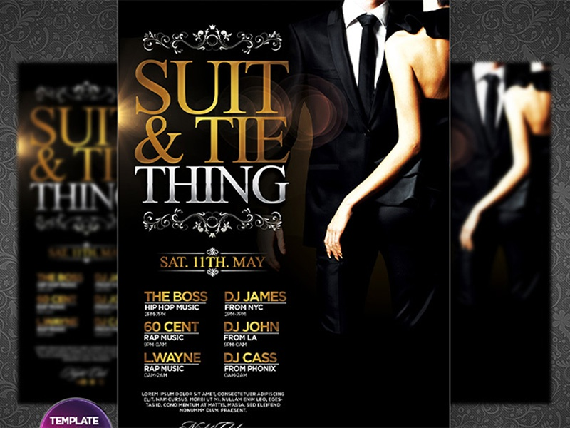 Suit and Tie - The Party Flyer Template by grandelelo - Dribbble