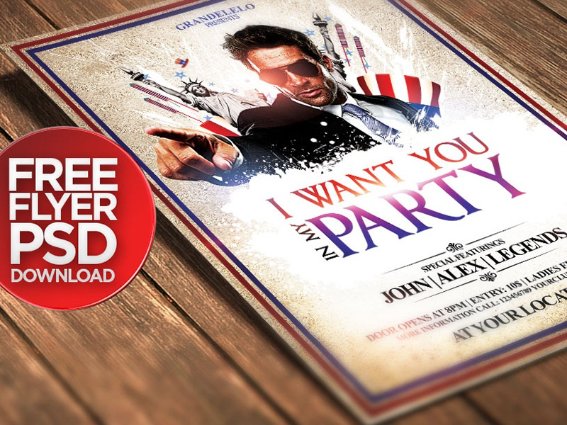 I Want To Be With You: Free I Want You / 4th July Party Poster By Grandelelo On
