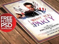 Free I Want You / 4th July Party Poster