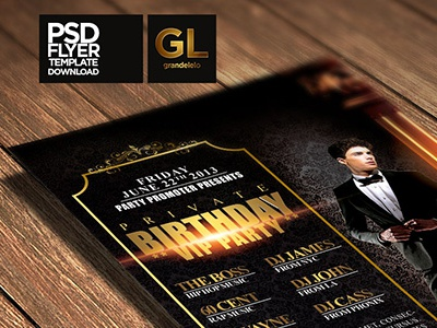 Birthday Party Flyer Template PSD anniversary banner birthday flyer party celebration grandelelo maputo mozambique mocambique designer creative