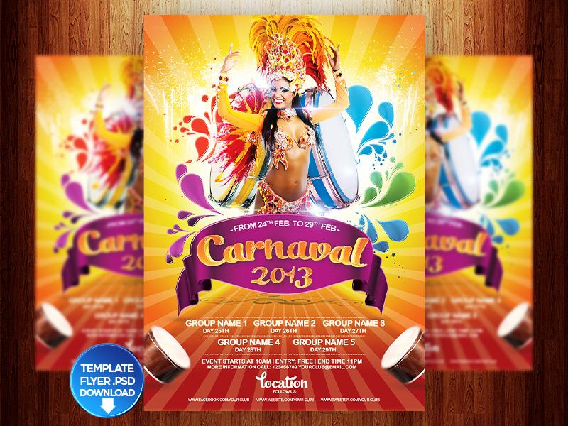 Carnaval 2013 Flyer PSD DOWNLOAD by grandelelo | Dribbble ...