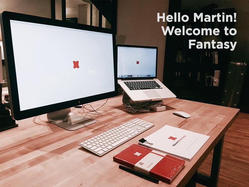 Hello Martin! moleskine desk welcome first day