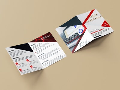 Digital Marketing Bifold Brochure With Red Color bifold brochures bifold design bifold brochure template bifold brochure design bifold brochure bifold