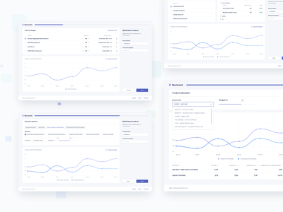 Noviscient — Portfolio Сonstructor chart strategies light mode ux progress bar constructor dashboad design saas product design ui