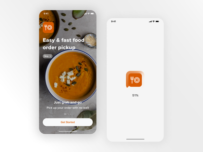 Food order pickup App foodapp fast food restaurant app restaurant fastfood start page branding logo loader light mode product design ux ui mobile ui mobile app design mobile design mobile app