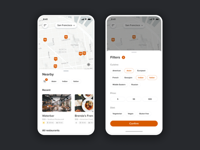 Food Order Pickup App map mobile application restaurant logo application mobile ui design mobile ui mobile app food app food mobile design app user experience user interface ui uidesign uiux restaurant app restaurant