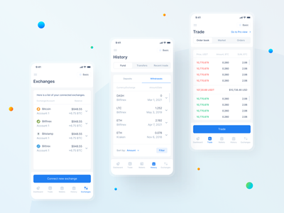 Fintech Mobile App — Exchanges, History, Trade market order book transactions transfers withdraw deposit cryptocurrency crypto app crypto trading trade history exchanges mobile design mobile app mobile light mode product design ux ui