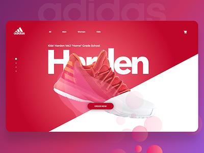 Adidas Concept Page sketch app app ui design concept