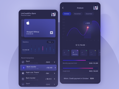 UIX App personal wallet - banking dailyui ui design uidesign ui  ux ui wallet app wallet banking app banking fintech fintech app data visualization ios app app design app adobexd adobe xd