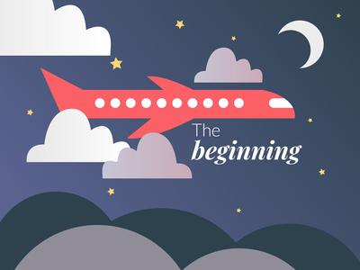 The Beginning plane clouds mentoring vector illustration