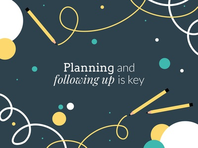 Planning and following up is key circles pencils mentoring vector illustration