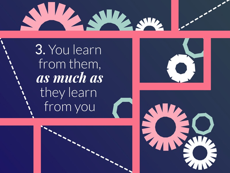 You learn from them, as much as they learn from you cogs mentoring vector illustration