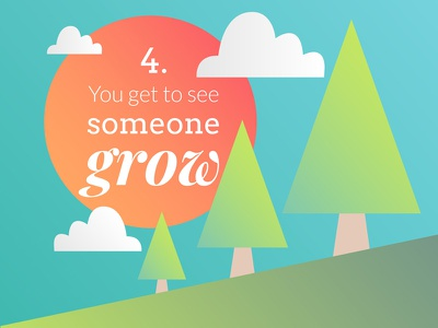You get to see someone grow trees mentoring vector illustration