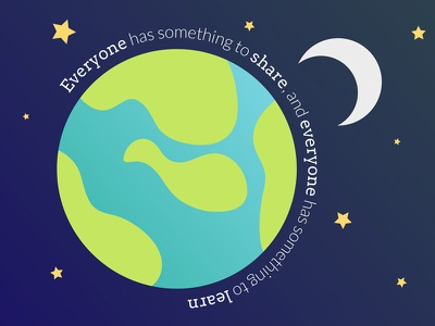 Everyone has something to share and learn moon globe mentoring vector illustration