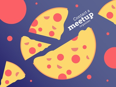 Contact a meetup organiser pizza mentoring vector illustration