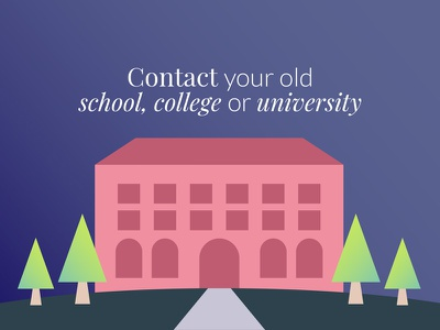 Contact your old college or university building vector mentoring illustration