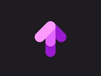 HomeSafe  - Logo creation app vector dark mode purple arrow design branding logo