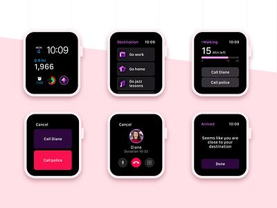 HomeSafe - Screens sneak peek pink purple concept sketch ios usability ui  ux dark ui watch app