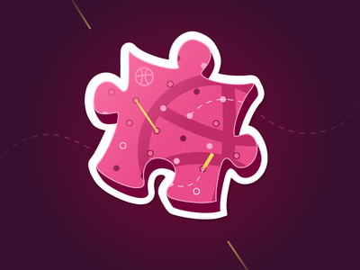 Puzzle Dribbble contest sticker mule game share illustration community dribbble piece puzzle