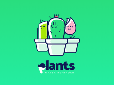 Plants, a water reminder - UI/UX project colourful interaction green plants illustration ui  ux