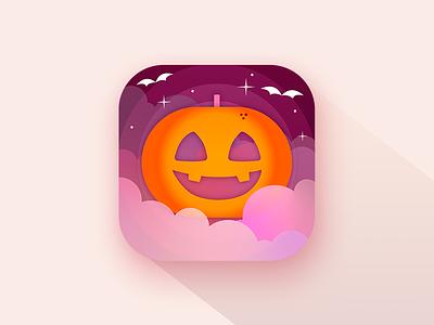 Carve your pumpkin app 🎃 colourful illustration design orange purple night pumpkin ios icon app halloween