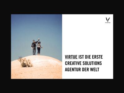 Virtue vice virtue split animation singlepage website agency minimal