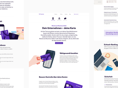 Kontist Product Pages illustration banking webdesign