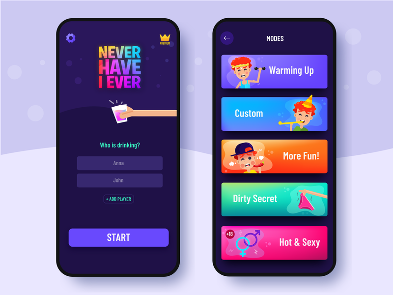 Never Have I Ever flat design illustration game art vector drinking logo gradient mobile menu category colorful quiz ux ui design game app
