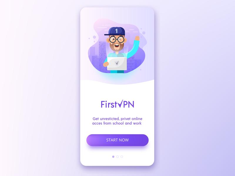 VPN app gradient secure first wifi vpn internet clean minimal flat design character ios vector mobile illustration ui design app