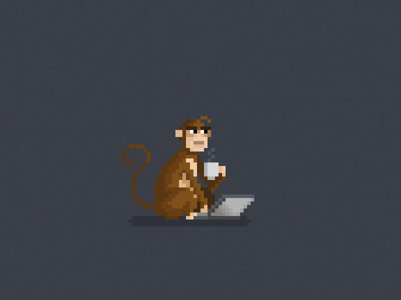 Code monkey pixel art pixels monkey chimp coffee coding code