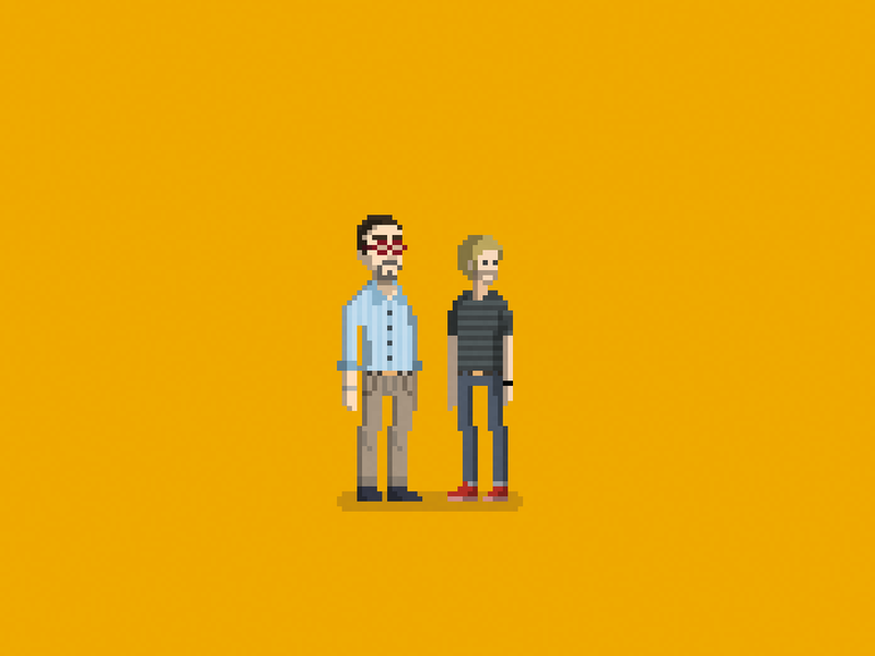 Two of a kind parents illustration pixel art son father