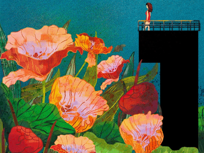 1 for diving in a pool of flowers digitalart digitalillustration digital flowers 36days-1 artwork creative design illustration typography type numbers 36daysoftype