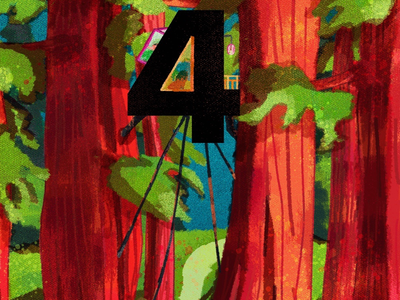 4 for Tree House housetree treesillustration digitalart digitalillustration 36days-4 36daysoftype art landscapes creative artwork illustration typography numbers