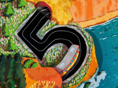 5 for railway numbers digitalart digitalillustration 36day-5 36daysoftype railway landscapes creative artwork art illustration