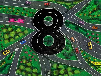 8 for highway highway landscapes numbers 36daysoftype digitalart digitalillustration colours. illustrationart art illustration