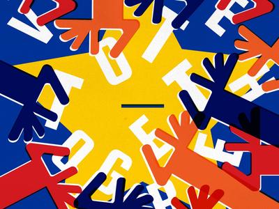 vote together poster digitalillustration vote eu elections art design graphicdesign illustration poster design poster