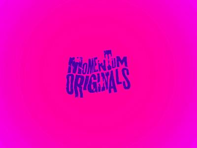Momentum Originals logotype gradient crumpled distressed typographic