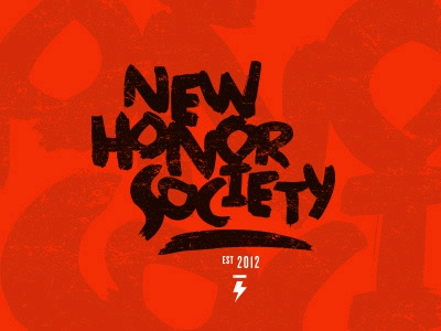 New Honor Society word mark 2 orange stamp distressed hand drawn typography