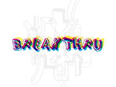 Break Thru logotype vibrate arrows transparency offset cmyk