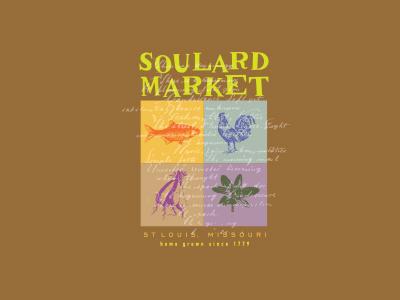 Soulard Market brand ID sweet potato turnip rooster flower fish market
