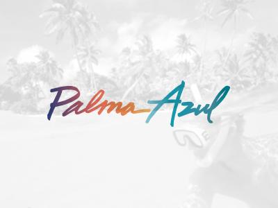 Palma Azul calligraphy gradient script ocean hand-drawn