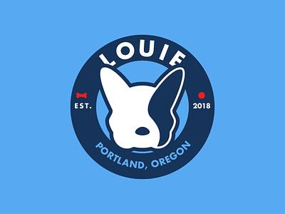 Louie badge pet frenchie flat logo