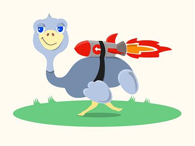 Flying Ostrich jetpack illustration cartoon mascot ostrich