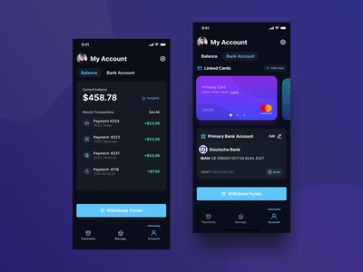 Mobile POS Application - My Account - Dark Mode clean ui ui design mobile app design minimal debit bank balance user profile credit card card payment ios14 banking finance dark app dark dark mode figma ux ui